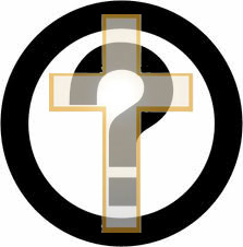 Transparent cross superimposed over a question mark